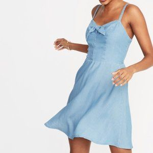 Chambray Bow Tie Front Cami Fit Flare Dress